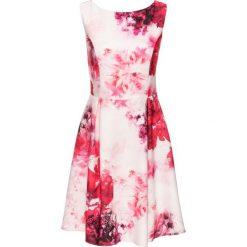 Sukienki balowe: Sukienka z dżerseju z nadrukiem bonprix biel wełny – różowo-jeżynowy wzorzysty