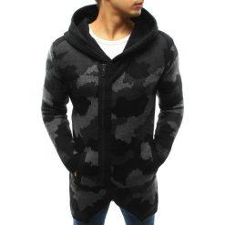 Swetry rozpinane męskie: Sweter męski rozpinany z kapturem camo czarne (wx0915)