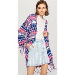 Sweter z frędzlami - Granatowy. Białe swetry klasyczne damskie marki Reserved, l. Za 99,99 zł.