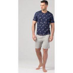 Piżamy męskie: Męska piżama RÖSSLI Palm Trees Navy