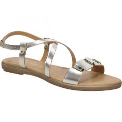 Sandały srebrne skórzane z ozdobami Marco Tozzi 2-28141-28. Szare sandały damskie marki Marco Tozzi. Za 129,99 zł.
