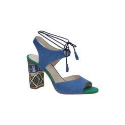 Rzymianki damskie: Sandały Kordel  Chabrowe sandały skórzane na ozdobnym obcasie  1671
