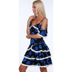 Sukienka z falbanami chabrowe maki 1775. Niebieskie sukienki Fasardi, l. Za 79,00 zł.