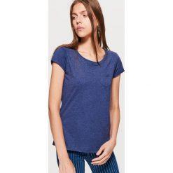 Gładka koszulka - Granatowy. Niebieskie t-shirty damskie marki Cropp, l. Za 19,99 zł.