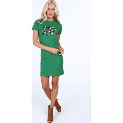 Sukienka z łuskami z krótkim rękawkiem zielona 22476. Zielone sukienki mini Fasardi, l, z krótkim rękawem. Za 59,00 zł.