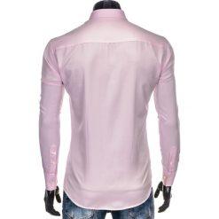 KOSZULA MĘSKA Z DŁUGIM RĘKAWEM K404 - RÓŻOWA. Brązowe koszule męskie na spinki marki Ombre Clothing, m, z aplikacjami, z kontrastowym kołnierzykiem, z długim rękawem. Za 49,00 zł.
