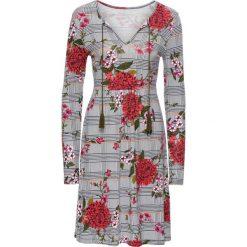 Sukienka shirtowa w kratę bonprix czarno-biały w kratę z nadrukiem. Czarne sukienki z falbanami bonprix, z nadrukiem. Za 109,99 zł.