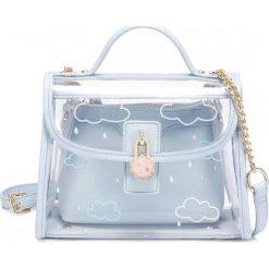 Przezroczysta torebka niebieska. Niebieskie torebki klasyczne damskie Pakamera, z materiału. Za 219,00 zł.