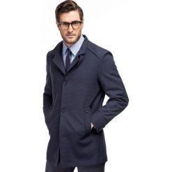 Płaszcz FLORIANO PSNS000065. Niebieskie płaszcze na zamek męskie marki Giacomo Conti, m, z bawełny, wizytowe. Za 499,00 zł.