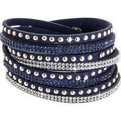 Bransoletki damskie: Skórzana bransoletka w kolorze granatowym ze szklanymi kryształkami