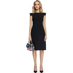 DONIA Sukienka z ozdobnymi rękawami - czarna. Czarne sukienki hiszpanki Stylove, na co dzień, w geometryczne wzory, z tkaniny, mini, trapezowe. Za 159,90 zł.