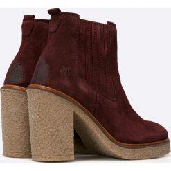 Marc O'Polo - Botki. Brązowe buty zimowe damskie Marc O'Polo, z materiału, na obcasie. W wyprzedaży za 269,90 zł.
