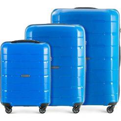 Zestaw walizek 56-3T-72S-95. Niebieskie walizki marki Wittchen, z gumy, duże. Za 629,61 zł.