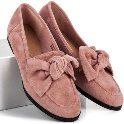 Mokasyny damskie: Zamszowe mokasyny z kokardą SWEET SHOES różowe