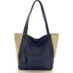 Shopper bag damskie: BETTE Shopper skórzany MAZZINI granat z beżem