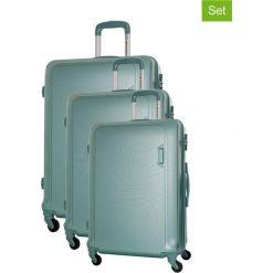 Zestaw walizek w kolorze miętowym - 3 szt. Zielone walizki marki Platinium, z materiału. W wyprzedaży za 579,95 zł.