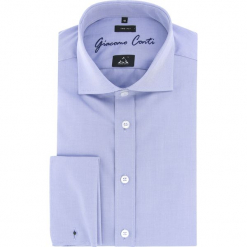Koszula ENRICO W slim 15-11-46-W. Białe koszule męskie na spinki Giacomo Conti, m, z bawełny, z włoskim kołnierzykiem, z długim rękawem. Za 129,00 zł.