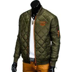 0f2d91199d9f1 ... Kurtka męska wiosenna pikowana C317 - oliwkowa. Zielone kurtki męskie  Ombre Clothing