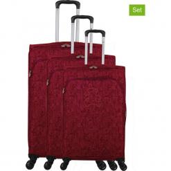"""Walizki (3 szt.) """"Lulu Cactus"""" w kolorze fuksji. Czarne walizki marki Jack Wolfskin, w paski, z materiału, małe. W wyprzedaży za 673,95 zł."""