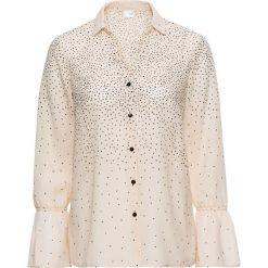Bluzki asymetryczne: Bluzka z rękawami z falbanami bonprix beżowo-szaro-czarny w kropki