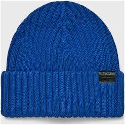 G-Star Raw - Czapka. Niebieskie czapki zimowe męskie G-Star RAW, z bawełny. W wyprzedaży za 99,90 zł.