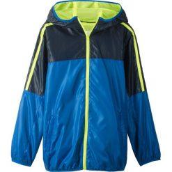 Lekka kurtka sportowa z kapturem bonprix niebiesko-żółty neonowy. Niebieskie kurtki chłopięce sportowe marki bonprix, z kapturem. Za 59,99 zł.