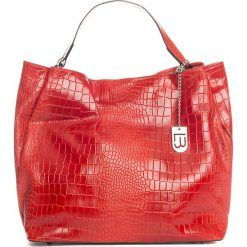 Torebki klasyczne damskie: Skórzana torebka w kolorze czerwonym – 50 x 28 x 15 cm