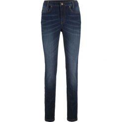 Dżinsy SKINNY z wygodnym paskiem bonprix ciemny denim. Niebieskie jeansy damskie skinny marki House, z jeansu. Za 109,99 zł.