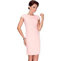 Sukienki: Alice Elegancka sukienka z krótkim rękawkiem – Brzoskwinia