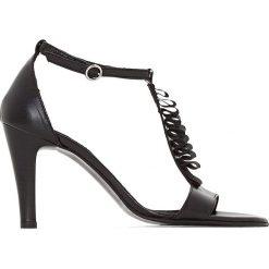 Rzymianki damskie: Sandały skórzane z ozdobnym paskiem