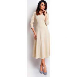 Odzież damska: Beżowa Elegancka Rozkloszowana Sukienka z Dekoltem V