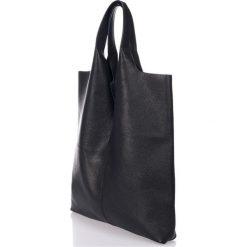 Torebki klasyczne damskie: Skórzana torebka w kolorze czarnym – 37 x 40 x 7 cm