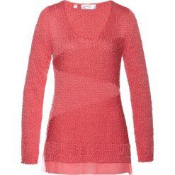 Swetry klasyczne damskie: Sweter z szyfonową wstawką bonprix jasny koralowy
