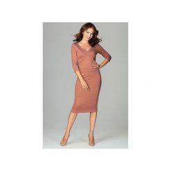 Sukienka K476 Brąz. Czerwone sukienki balowe marki bonprix, na lato, w grochy, z dzianiny, z podwójnym kołnierzykiem, moda ciążowa, dopasowane. Za 179,00 zł.