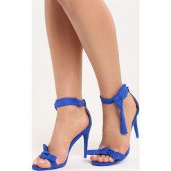 Kobaltowe Sandały Staple. Niebieskie sandały damskie marki Born2be, na wysokim obcasie, na stożku. Za 69,99 zł.