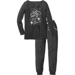 Piżamy damskie: Piżama bonprix antracytowy melanż – srebrny z nadrukiem