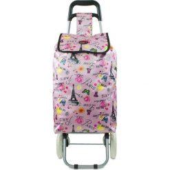 """Shopper bag damskie: Torba """"Oural"""" w kolorze jasnoróżowym ze wzorem na zakupy – 35 x 92 x 28 cm"""