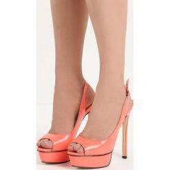 Koralowe Sandały My Way. Pomarańczowe sandały damskie marki Born2be, z lakierowanej skóry, na wysokim obcasie, na obcasie. Za 59,99 zł.