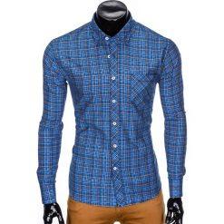 KOSZULA MĘSKA W KRATĘ Z DŁUGIM RĘKAWEM K421 - NIEBIESKA. Niebieskie koszule męskie na spinki marki Ombre Clothing, m, z długim rękawem. Za 69,00 zł.