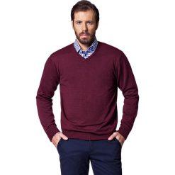 Sweter Robin Bordowy. Czerwone kardigany męskie LANCERTO, m, z bawełny, klasyczne, z dekoltem w serek. W wyprzedaży za 149,90 zł.