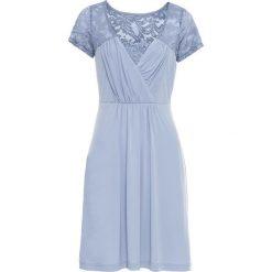 Sukienka z dżerseju z koronką bonprix jasnoniebieski. Niebieskie sukienki hiszpanki bonprix, w koronkowe wzory, z dżerseju. Za 44,99 zł.