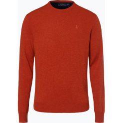 Polo Ralph Lauren - Męski sweter z wełny merino, pomarańczowy. Brązowe swetry klasyczne męskie Polo Ralph Lauren, m, z haftami, z dzianiny, z klasycznym kołnierzykiem. Za 699,95 zł.