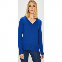Tommy Hilfiger - Sweter. Niebieskie swetry klasyczne damskie TOMMY HILFIGER, l, z bawełny. Za 399,90 zł.
