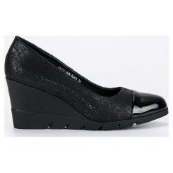 Buty ślubne damskie: FILIPPO czarne czółenka na koturnie