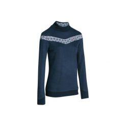 Sweter MID WARM 100. Niebieskie swetry klasyczne damskie marki WED'ZE, m, z materiału, ze stójką. W wyprzedaży za 39,99 zł.