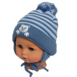 Czapka niemowlęca z szalikiem CZ+S 010F. Szare czapeczki niemowlęce Proman. Za 36,70 zł.