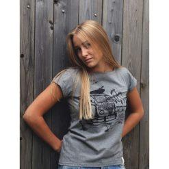 Koszulka Ogórek Jasnoszara. Niebieskie bluzki z odkrytymi ramionami marki Pakamera, z bawełny. Za 99,00 zł.