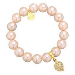 Bransoletki damskie: Bransoletka z pereł z kamieni naturalnych i pozłacanego srebra 925