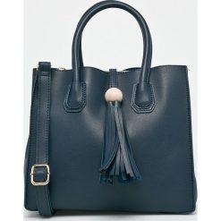 Answear - Torebka. Brązowe torebki klasyczne damskie ANSWEAR, w paski, z materiału, średnie. W wyprzedaży za 69,90 zł.