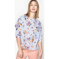 Bluzki asymetryczne: Bluzka z okrągłym dekoltem w kwiaty i paski